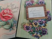 2 Vtg 1940s NIECE Pansy and Rose BIRTHDAY Sample GREETING CARDS