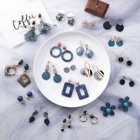 Fashion Blue Gray Series Earrings Female Geometric New Personality Stud Jewelry