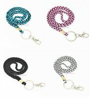 Handcrafted weave Ribbon Neck Lanyard with key chain for key, ID badge holder