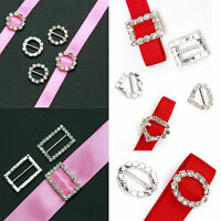 10pcs DIY Rhinestone Diamante Buckle Ribbon Slider Wedding Invitation Card Decor