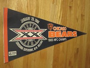 "85 NFC Champs SUPER BOWL XX CHICAGO BEARS 30"" PENNANT JIM McMAHON WALTER PAYTON"