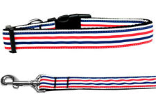 Mirage Patriotic Stripes Nylon Dog Collars and Leash Combo