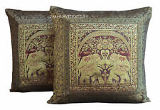 Silk Brocade Handmade Home Decor Indian Vintage Cushion Cover Set of 2 Gift New
