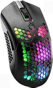 Honeycomb Lightweight Wireless Gaming Mouse 7 Button 12000 DPI RGB Color Mice