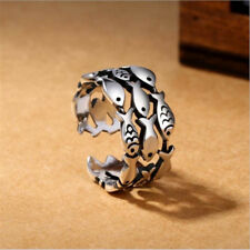 Gift Finger Rings Opening Ring Jewelry Adjustable Fish Silver Plated Rings