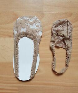 Füßlinge beige nude Sling-Pumps Gr 36 37 38 Spitze in-shoe socks Söckchen ♡NEU♡