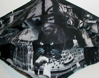 Black Cat Fabric Face Mask with Ties & Filter Opening - ouija collage Cotton