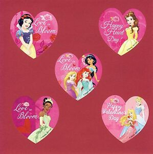 15 Disney Princess Heart Shaped Valentine's Day Large Stickers - Party Favors