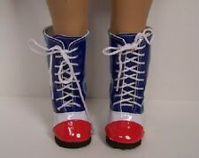 "RED WHITE BLUE Vinyl Flag Knee Boots FLAG Doll Shoes For18"" American Girl (Debs)"