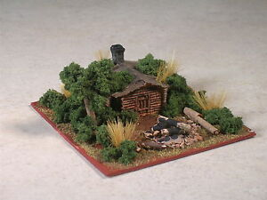 N Scale Wilderness Log Cabin Diorama with camp fire, part #380065