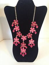 "Fashion Mixit Bib 30"" Long Pink Flower Bulk Necklace NWT"