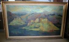 BIG OIL ON CANVAS LANDSCAPE SIGNED-ARTIST CLAIRE SZILARD B 1921 HUNGARY(AR # 74)