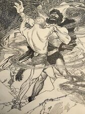 Hercules and Diomedes? c.1930's Mythological Pen-and-Ink Drawing by A.C. Dann