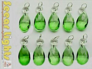 10 EMERALD DECO GREEN CHANDELIER OVAL GLASS CRYSTALS DROPS PRISMS DROPLETS BEADS