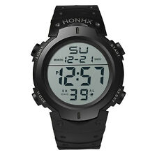 Mode Herren Kinder Sport Armbanduhr LCD Digital Datum Rubber Watch Wasserdicht
