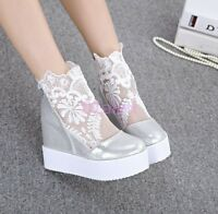 Womens High Platform Wedge Heel ANkle Boots Summer Floral Lace Mesh Sexy Shoes