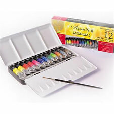 Sennelier l'aquarelle Artisti Acquerello 12 x 10ml TUBI METALLO Box Set & Spazzola