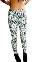 Women's Unique Dollars Notes Funky Printed Leggings Rock N Roll Size 8-22