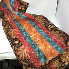 "*Quilted Table Runner Center Piece Floral Red Blue Brown Multi-color 45"" X20.5"""