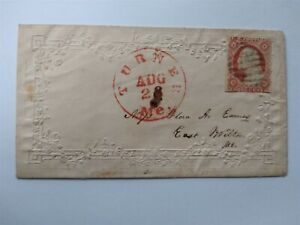 Maine: Turner 1850s #11 Embossed Ladies Cover, Cover, Red CDS