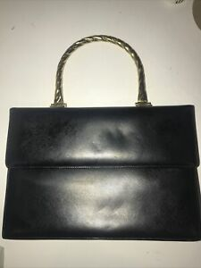VINTAGE BAGS BY SUPREME BLACK OUTSIDE & RED INSIDE LEATHER GOLD HANDLE HAND BAG