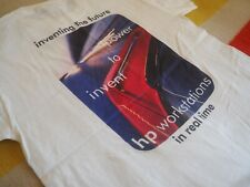 """Vtg Hp Invent Workstations """"Inventing the Future"""" White Graphic Tee Shirt Mens M"""
