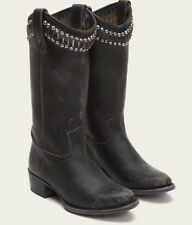 Women's Frye 'Diana' Cut Tall Studded Black Distressed Leather Boots SZ 7B
