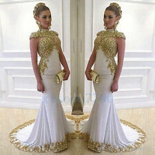 Long Satin White and Gold Evening Cocktail Formal Party Prom Gown Dress custom