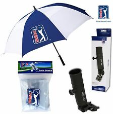 PGA TOUR SET - Large Umbrella + Universal Clamp Holder + Golf Trolley Rain Cover