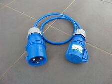 230v 32A Plug to 16A Socket - 1m x 2.5mm sq Cable - Caravan / Idustrial