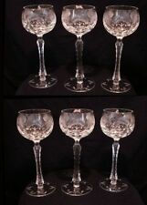 Cut Glass Wine Goblets with Engraved Thistle Design