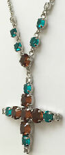 "Crystal Square Cross Necklace in Topaz and Turquoise Tones 22"" Chain - NEW!"
