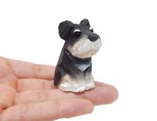 Terrier/Schnauzer Dog Puppy Figurine Miniature Small Wood Carve Handmade Decor