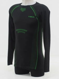 Brugi Thermal Sweater Size Large - XL Mens Black/Green Long Sleeve Base Layer