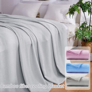 New Ultra-Cool Bamboo Blanket Summer Absorbs Body Heat Soft Cooling Blanket