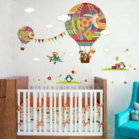 Zoo Animals Hot Air Balloon Wall Art Sticker Children Room Nursery Decal Mural