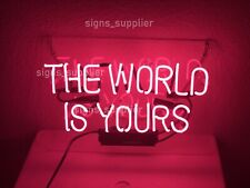 """New The World Is Yours Pink Neon Sign Acrylic Light Lamp Artwork Decor 17"""""""