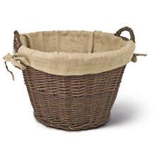 Kaminholzkorb rund mit Jute Ausschlag, braun, Holzkorb, Kaminkorb, Gartenkorb