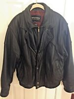 WILSON'S BLACK LEATHER JACKET WITH THINSULATE HEAVYDUTY MENS M