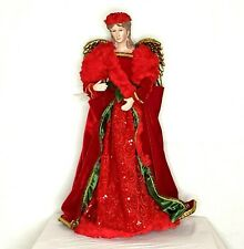 Pier 1 Christmas Holiday Angel Nwt 2' Tall Red Velvet Sequins Porcelain Bisque