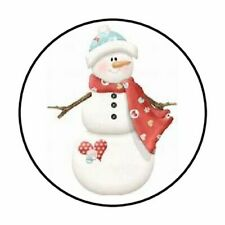 "48 CHRISTMAS WINTER SNOWMAN ENVELOPE SEALS LABELS STICKERS 1.2"" ROUND"