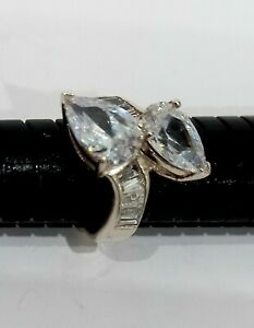 Solid 925 Sterling Engagement Type Ring 4000Points Of CubicZirconia Tear Drops