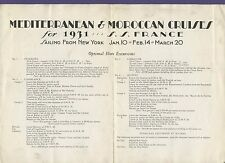 1931 SS France Mediterranean & Moroccan Cruises Brochure - French Line CGT