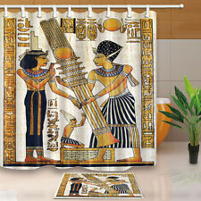 Egyptian Pharaoh and queen Bathroom Shower Curtain Waterproof Fabric w/12 Hooks