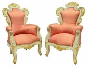Armchairs, Pair, Baroque Style Upholstered Parcel Gilt, Vintage / Antique, Fancy