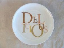 "Cheesecake Factory Dessert Plate DeLIcIOuS  Wht Herrington Teddy Bear Co  7 7/8"""
