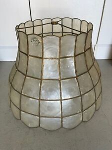 """MID CENTURY CAPIZ SHELL LAMP SHADE LARGE Approx 16"""""""