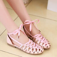 Vogue womens ladies lace-up cut out summer sandals flat ankle shoes fation