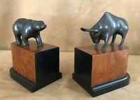 Wall Street Stock Market bull & bear bookends vintage bronze wood base