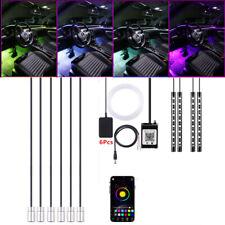 10x Car Atmosphere Light 64Colors RGB LED Fiber Optic Strip Bluetooth APP Remote